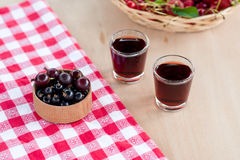Homemade liqueur made from black currants and red gooseberry. stock photography