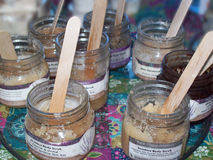 Homemade Lotions. A few test jars of handmade lotion at a local flea market in Florida Stock Image