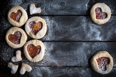 Homemade love cookies with jam Royalty Free Stock Photography
