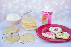 Homemade love heart biscuits  Royalty Free Stock Photography