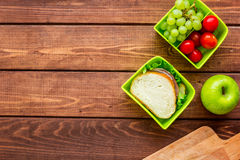 Homemade lunch with apple, grape and sandwich in green lunchbox top view mockup Royalty Free Stock Images