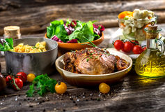 Homemade lunch. Meat, pork, potatoes and vegetable Royalty Free Stock Photos