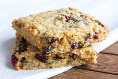Homemade luxury fruit muesli bar. On napkin Stock Photo