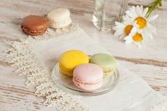 Homemade macaron on dish Stock Images