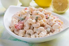 Free Homemade Macaroni Salad With Vegetables Royalty Free Stock Images - 127664499