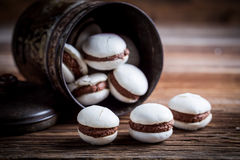 Homemade macaroons in the old metal box Stock Photos