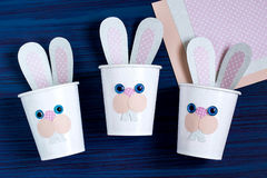 Homemade making of boxes for sweets in form of Easter hare. Step Royalty Free Stock Photo
