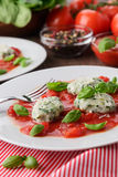 Homemade malfatti with tomato sauce. Italian dish of spinach, flour and cheese Stock Images