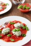 Homemade malfatti with tomato sauce Stock Image