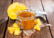 Homemade Mango Jam. On dark wooden background stock photos