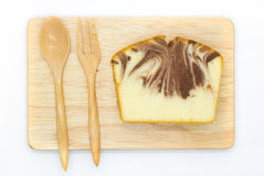 Homemade, marble butter cake on wooden board Royalty Free Stock Images