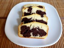 Homemade Marble cake. Delicious homemade marble chocolate cake Stock Images