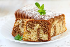Homemade marble cake. On the plate stock photo