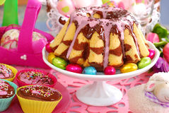 Marble ring cake for easter Stock Photos