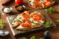 Homemade Margarita Flatbread Pizza Royalty Free Stock Image