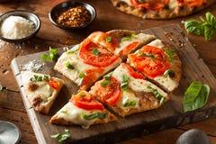 Homemade Margarita Flatbread Pizza Stock Photos