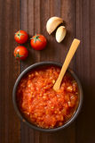 Homemade Marinara or Pomodoro Tomato Sauce. Homemade traditional Italian marinara or pomodoro tomato sauce made of fresh tomato, garlic, dried oregano and salt Stock Photos