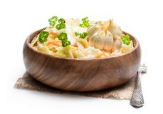 Homemade marinated cabbage with garlic isolated on a white. Homemade  marinated cabbage with garlic isolated on a white stock photos