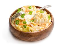 Homemade marinated cabbage with garlic isolated on a white. Homemade  marinated cabbage with garlic isolated on a white stock image