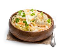 Homemade marinated cabbage with garlic isolated on a white. Homemade  marinated cabbage with garlic isolated on a white royalty free stock image