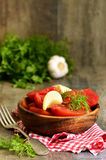 Homemade marinated tomatoes. Royalty Free Stock Image