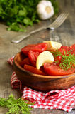 Homemade marinated tomatoes. Royalty Free Stock Images