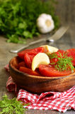 Homemade marinated tomatoes. Stock Images