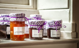 Homemade Marmalade and Jam. In glass jars on windowsill Royalty Free Stock Photos