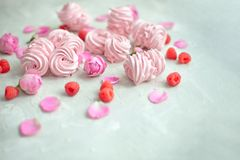 Homemade marshmallow with powdered sugar raspberries roses on gray concrete background. Homemade marshmallow with powdered sugar raspberries roses on gray stock photos