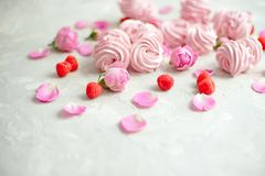 Homemade marshmallow with powdered sugar raspberries roses on gray concrete background. Homemade marshmallow with powdered sugar raspberries roses on gray stock image