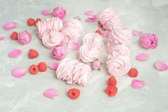 Homemade marshmallow with powdered sugar raspberries roses on gray concrete background. Homemade marshmallow with powdered sugar raspberries roses on gray stock images