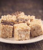 Homemade Marshmallow Rice Crispy Dessert Bar with chocolate Stock Image