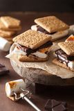 Homemade marshmallow s`mores with chocolate on crackers Stock Image