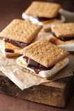 Homemade marshmallow s`mores with chocolate on crackers Royalty Free Stock Image