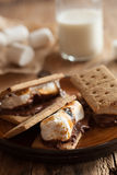 Homemade marshmallow s`mores with chocolate on crackers Royalty Free Stock Images