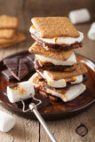 Homemade marshmallow s`mores with chocolate on crackers royalty free stock photography