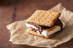 Homemade marshmallow s`mores with chocolate on crackers Royalty Free Stock Photo
