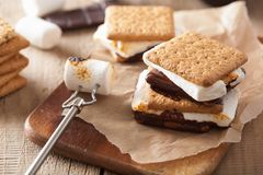 Homemade marshmallow s`mores with chocolate on crackers Stock Photo
