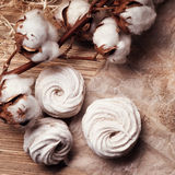 Homemade marshmallow Zephyr on a rustic wooden table Stock Photography