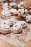 Homemade marshmallow Zephyr on a rustic wooden table Stock Image