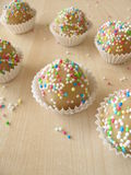 Homemade marzipan pralines with sugar pearls Stock Image
