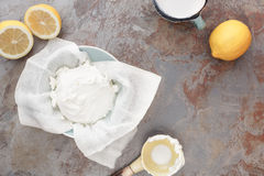 Homemade mascarpone cheese. Overhead view of making mascarpone cheese, vintage style Royalty Free Stock Photo