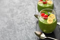 Homemade matcha green tea chia seed pudding Royalty Free Stock Photos