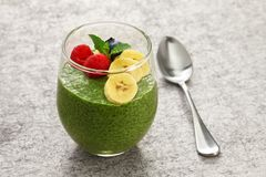 Homemade matcha green tea chia seed pudding Royalty Free Stock Photography