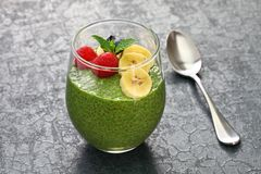Homemade matcha green tea chia seed pudding Royalty Free Stock Photo