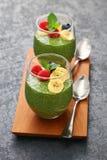 Homemade matcha green tea chia seed pudding Stock Images