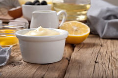 Homemade the mayonnaise with products for making mayonnaise Royalty Free Stock Photo