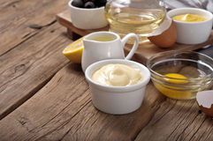 Homemade the mayonnaise with products for making mayonnaise Royalty Free Stock Image