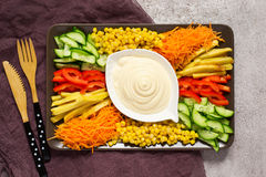 Homemade mayonnaise sauce. Dish with set of colorful vegetables. Russian salad goat in the garden. Top view stock photo