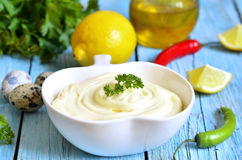 Homemade mayonnnaise. Royalty Free Stock Image